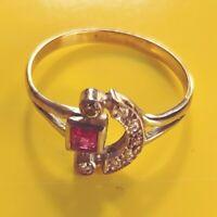 Exclusivo Lujo Art Deco Anillo Verdaderos Diamantes + Rubí Genuino 585 Oro