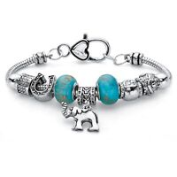 Antiqued Silvertone Blue Beaded Bali-Style Elephant Charm Bracelet 7.5""