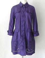 Etcetera Light Weight Trench Coat Purple Shiny Nylon 3/4 Sleeve Size 4