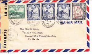 British Guiana SG#312,#311(x3)#310-LEONORA 30/DE/44-WWII CENSOR