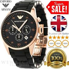 * NEW * EMPORIO ARMANI AR5905 MENS BLACK & ROSE GOLD RUBBER CHRONOGRAPH WATCH