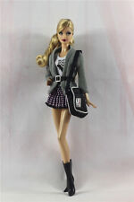 5in1 Fashion clothes/outfit Casual Coat+vest+skirt+boots+bag For Barbie Doll
