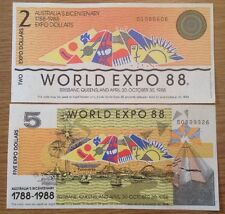 2 X World Expo 88 Banknotes. 2 & 5 Dollars. Australia's Bicentenary.