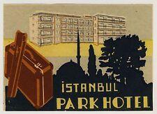 Park Hotel ISTANBUL Turkey Türkei * Old Luggage Label Kofferaufkleber