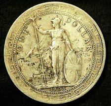 1903 B Britain $1 Dollar KM#T5 Silver 90% Bombay Mint #6028