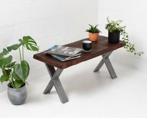 Rustic Live Edge Coffee Table Handmade With X Frame Legs / A