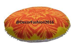 "Hand Tie Dye Mandala Round Pouf Pillow Case 32"" Meditation Floor Cushion Cover"