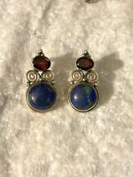 Sajen Sterling, Azurite & Garnet Earrings