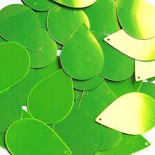 "Lime Green Fluorescent Metallic Sequins Teardrop 1.5"" Large Couture Paillettes"