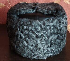 Original Russian Kubanka GRAY Karakul winter hat + Natural Leather Шапка-ушанка
