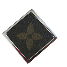 Authentic Louis Vuitton Pin Brooch Monogram Leather Silver Accessory 07Ep318