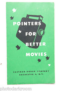 Kodak Pointers for Better Movies 1946 Quick Reference Guide - English - USED B14