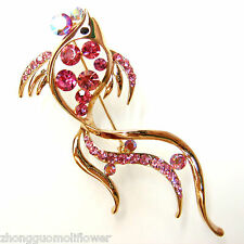 Aglare Ruby Crystal Goldfish Fish Pin Brooch BH7330