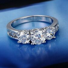 Charm Silver CZ White Gold Filled Crystal Ring Women Wedding Engagement Jewelry