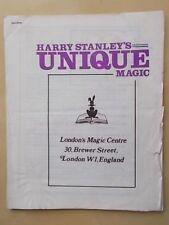 HARRY STANLEY LONDON MAGIC CENTRE UNIQUE STUDIO - CATALOGUE OF TRICKS