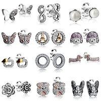 Elegant lady Pure Brilliant Zircon Pearl Fashion Earrings Hot 925 Silver Jewelry
