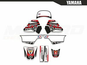 Yamaha PW 50 red Motocross Graphics Kit Decals Stickers MX dirtbike 1990 - 2018