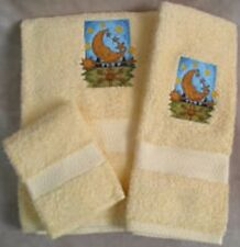 Embroidered Moon Weather Vane Yellow Bath Hand Wash Towels