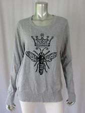 MERONA SZ XXL Cotton Blend Gray & Black Woven In Crown & Insect Pullover Sweater