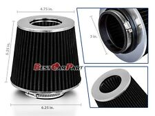 "BLACK 3"" 76mm Inlet Cold Air Intake Cone Replacement Quality Dry Air Filter"