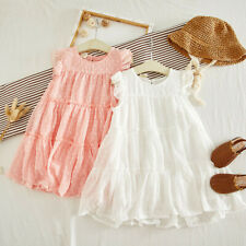 For Kids Baby Girls Ruffles Solid Ruched Summer Princess Clothes Dresses