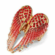 Coral Angel Wings Stretch Ring AB & Red Crystals on  Gold