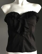 Pretty BARDOT Black Strapless Ruffle Trim Corset Top Size 8