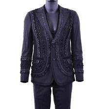 DOLCE & GABBANA RUNWAY 3-Pieces Embroidered Suit Blazer Jacket Vest Black 06882