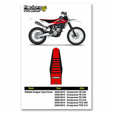 2009-2013 HUSQVARNA TE TC TXC  Black/Red/Black RIBBED SEAT COVER by Enjoy MFG