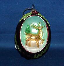 Egg Shape Embossed Deer Glass Christmas Ornament Must See