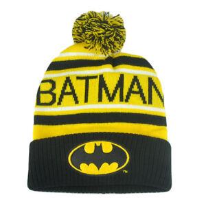 DC Comics Batman Dark Knight Superhero Word Front Beanie Knit Cuffed Pom Hat