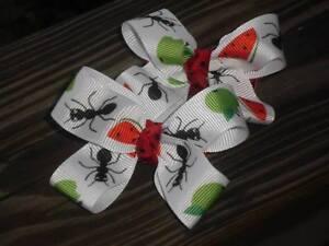 Hair Bows a pair of Medium Ants with apples and watermelon grossgrain  Hair Bows