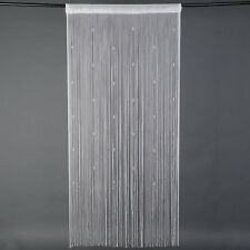 Beaded String Door Curtain Fly Screen Divider Room Window Decor Tassel White