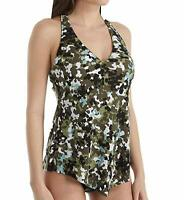 Magicsuit by Miraclesuit Tankini Set Swimsuit Size 10 GI Jane Taylor Two Piece