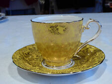 ROYAL GRAFTON ENGLAND DEMITASSE DUO BONE CHINA YELLOW GOLD CHINTZ 1950+