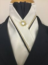 HHD Cream Satin Dressage Pre-tied Show Stock Tie Navy Blue & Gold Piping Pin