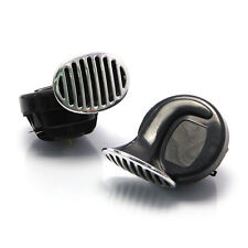 Black & Chrome Grill Universal 12V Dual Tone Snail Horns Car 4X4 Motorbike Quad