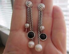 "David Yurman 18k White Gold Dangle Earrings Pearl Onyx 2 1/4"""