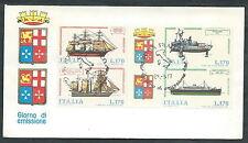 1977 ITALIA FDC POSTE ITALIANE NAVI BLOCCO NO TIMBRO ARRIVO - EDG32-4