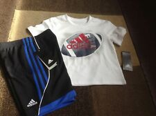 Boys Adidas short sleeve football tee shorts summer outfit size 4(NWT)