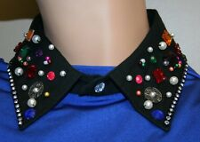Women Fashion Elegant Collar, Black Collar with milti-color stones