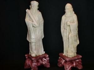 """Lot 2 Pc 8""""&7.5H Old Chinese Carved 100% QINGTIAN Stone Man Men Figurine Statues"""