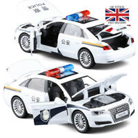 1:32 Audi A8 Police Model Car Vehicles Pull Back Flashing Musical Alloy Toy