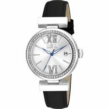 Invicta Women's Watch Wildflower Silver Tone Dial Black Leather Strap 15542
