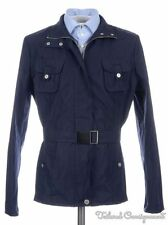 WEEKEND MAX MARA Blue Solid Polyester Womens Belted Jacket Coat - Size 14