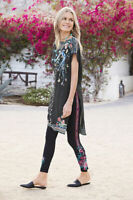 Johnny Was Annaliese Legging Black Floral LARGE L Embroidery Flowers Leggings NW