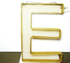 "LARGE INDUSTRIAL STYLE METALLIC GOLD WALL SHELF LETTER  'E'  METAL  15"" X 10"""