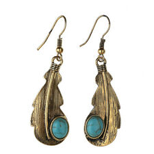Bohemian Vintage Natural Stone Turquoise Leaf Gold Hook Earrings Autumn Dangle