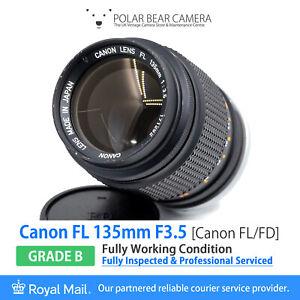 ⭐SERVICED⭐ CANON FL 135mm F3.5 Fits FD *8 BLADES* Full Frame + Caps [GRADE B]
