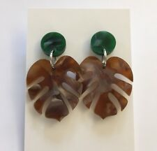 Monstera Leaf Dangle Earrings Green & Brown Pearl Shimmer Acrylic, Surgical Stud